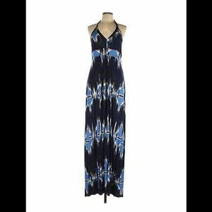 Banana republic blue white halter maxi dress M